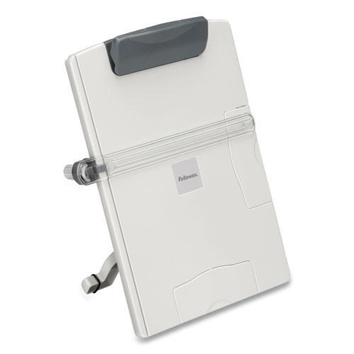 Desktop Easel-Style Copyholder, Plastic, 150 Sheet Capacity, Platinum/Gray. Picture 4