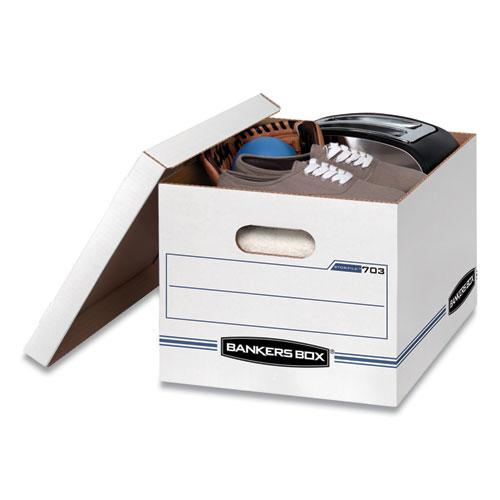 "STOR/FILE Basic-Duty Storage Boxes, Letter/Legal Files, 12.5"" x 16.25"" x 10.5"", White/Blue, 4/Carton. Picture 2"