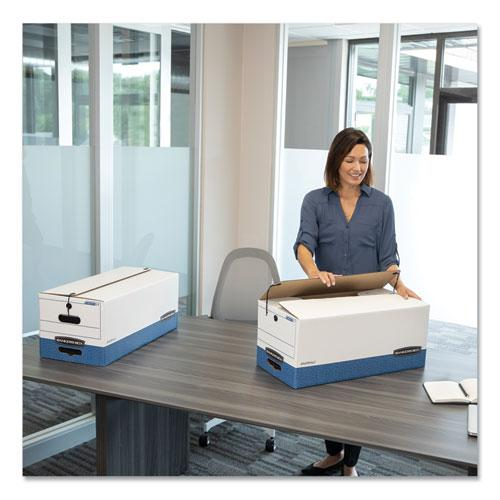 """STOR/FILE Medium-Duty Strength Storage Boxes, Letter Files, 12.25"""" x 24.13"""" x 10.75"""", White/Blue, 4/Carton. Picture 5"""