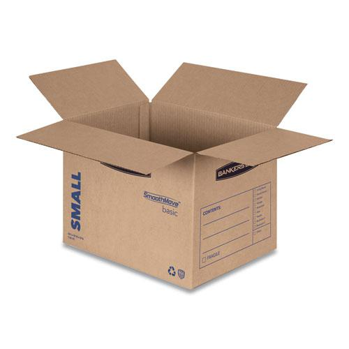 "SmoothMove Basic Moving Boxes, Small, Regular Slotted Container (RSC), 16"" x 12"" x 12"", Brown Kraft/Blue, 25/Bundle. Picture 3"