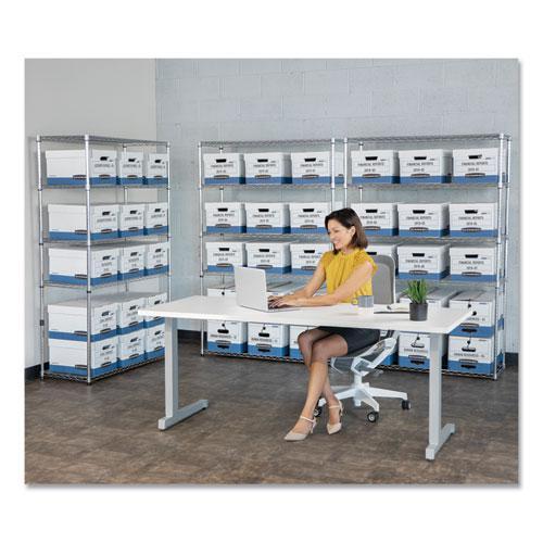 "STOR/FILE Medium-Duty Storage Boxes, Legal Files, 15.88"" x 25.38"" x 10.25"", White/Blue, 4/Carton. Picture 4"