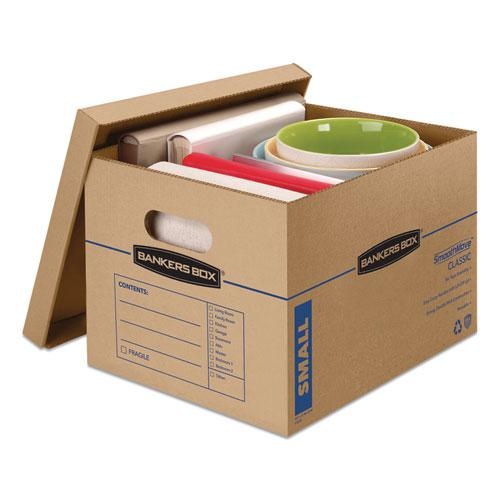"""SmoothMove Classic Moving & Storage Boxes, Small, Half Slotted Container (HSC), 15"""" x 12"""" x 10"""", Brown Kraft/Blue, 20/Carton. Picture 3"""