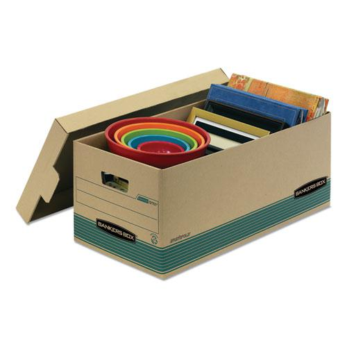 "STOR/FILE Medium-Duty Storage Boxes, Legal Files, 15.88"" x 25.38"" x 10.25"", Kraft/Green, 12/Carton. Picture 2"