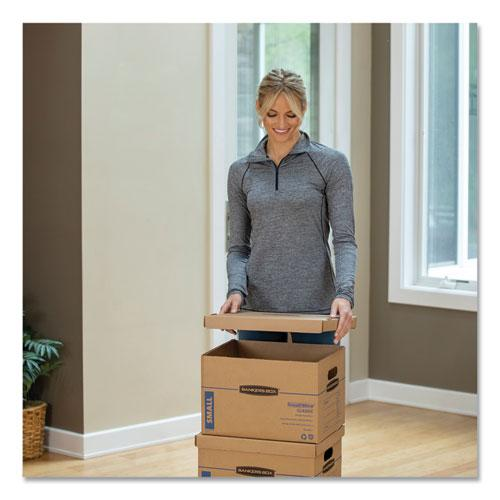 """SmoothMove Classic Moving & Storage Boxes, Small, Half Slotted Container (HSC), 15"""" x 12"""" x 10"""", Brown Kraft/Blue, 20/Carton. Picture 2"""