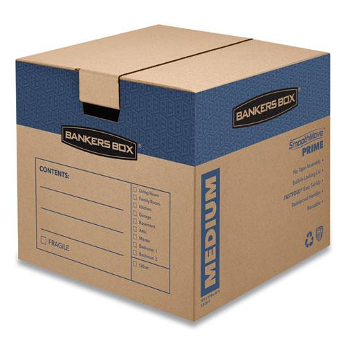 "SmoothMove Prime Moving/Storage Boxes, Medium, Regular Slotted Container (RSC), 18"" x 18"" x 16"", Brown Kraft/Blue, 8/Carton. Picture 1"