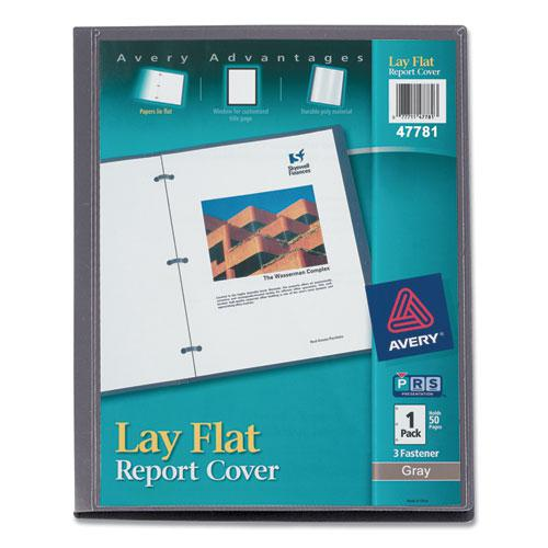 """Lay Flat View Report Cover with Flexible Fastener, Letter, 1/2"""" Cap, Clear/Gray. Picture 1"""