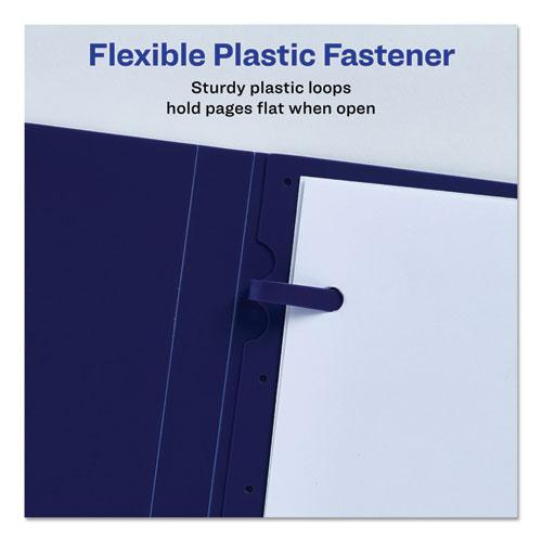 """Lay Flat View Report Cover w/Flexible Fastener, Letter, 1/2"""" Cap, Clear/Blue. Picture 4"""