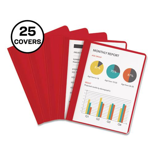 """Durable Clear Front Report Cover with Prong Fasteners, 1/8"""" Cap, Clear/Red, 25/Box. Picture 1"""