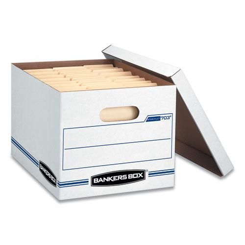 "STOR/FILE Basic-Duty Storage Boxes, Letter/Legal Files, 12.5"" x 16.25"" x 10.5"", White/Blue, 4/Carton. Picture 3"