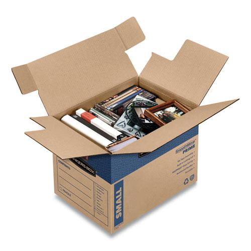 "SmoothMove Prime Moving/Storage Boxes, Small, Regular Slotted Container (RSC), 16"" x 12"" x 12"", Brown Kraft/Blue, 10/Carton. Picture 7"