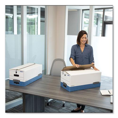 "STOR/FILE Medium-Duty Strength Storage Boxes, Legal Files, 15.25"" x 24.13"" x 10.75"", White/Blue, 12/Carton. Picture 3"