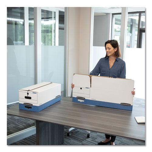 """STOR/FILE Medium-Duty Strength Storage Boxes, Legal Files, 15.25"""" x 19.75"""" x 10.75"""", White/Blue, 4/Carton. Picture 7"""