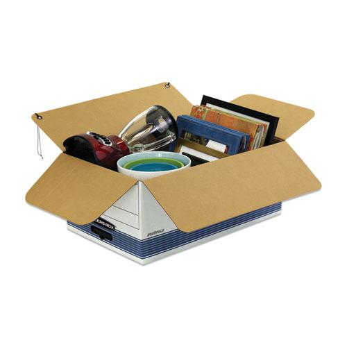 """STOR/FILE Medium-Duty Strength Storage Boxes, Legal Files, 15.25"""" x 19.75"""" x 10.75"""", White/Blue, 4/Carton. Picture 6"""
