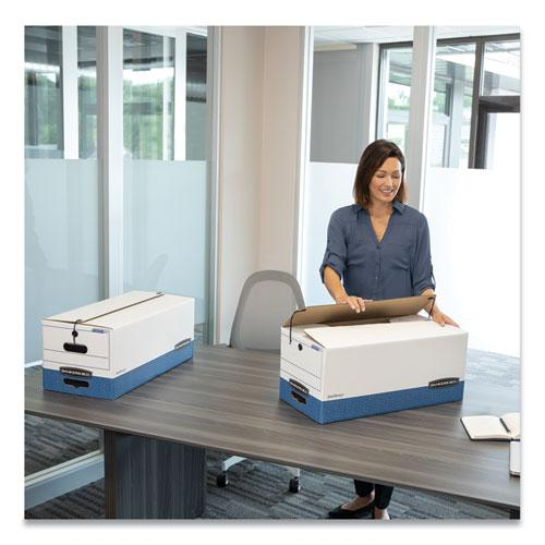 """STOR/FILE Medium-Duty Strength Storage Boxes, Legal Files, 15.25"""" x 19.75"""" x 10.75"""", White/Blue, 4/Carton. Picture 5"""