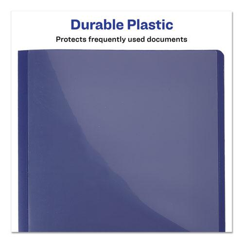 """Lay Flat View Report Cover w/Flexible Fastener, Letter, 1/2"""" Cap, Clear/Blue. Picture 7"""