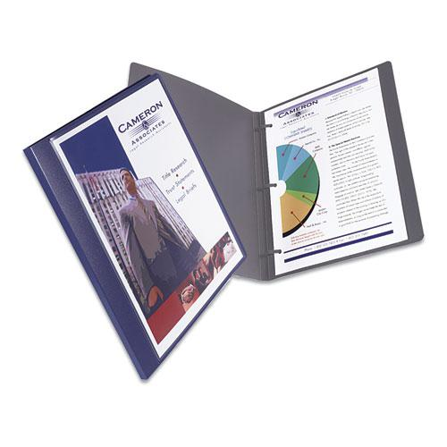 """Lay Flat View Report Cover w/Flexible Fastener, Letter, 1/2"""" Cap, Clear/Blue. Picture 2"""