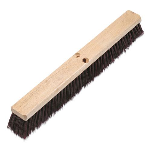 "Floor Brush Head, 3 1/4"" Maroon Stiff Polypropylene, 24"". Picture 1"