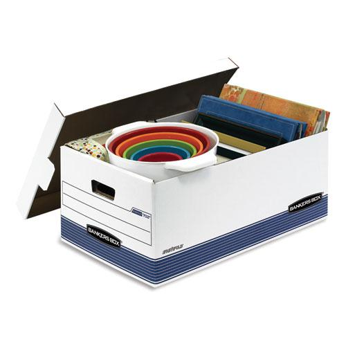 "STOR/FILE Medium-Duty Storage Boxes, Legal Files, 15.88"" x 25.38"" x 10.25"", White/Blue, 4/Carton. Picture 3"