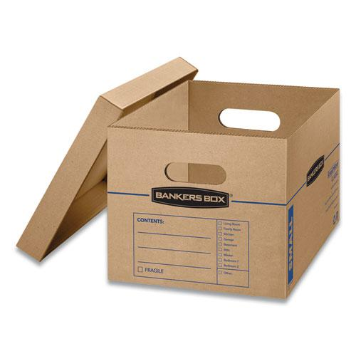 """SmoothMove Classic Moving & Storage Boxes, Small, Half Slotted Container (HSC), 15"""" x 12"""" x 10"""", Brown Kraft/Blue, 20/Carton. Picture 4"""