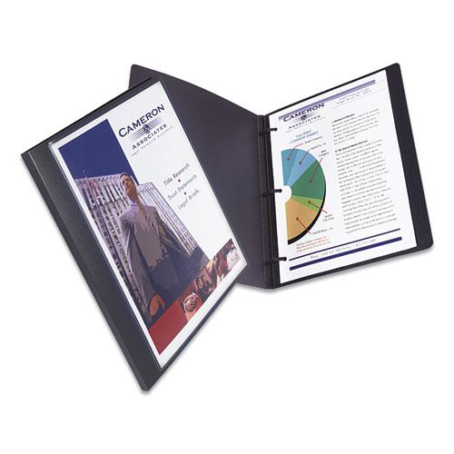 """Lay Flat View Report Cover with Flexible Fastener, Letter, 1/2"""" Cap, Clear/Gray. Picture 4"""