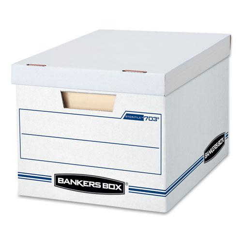 "STOR/FILE Basic-Duty Storage Boxes, Letter/Legal Files, 12.5"" x 16.25"" x 10.5"", White/Blue, 4/Carton. Picture 1"