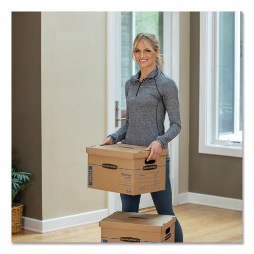 """SmoothMove Classic Moving & Storage Boxes, Small, Half Slotted Container (HSC), 15"""" x 12"""" x 10"""", Brown Kraft/Blue, 20/Carton. Picture 6"""