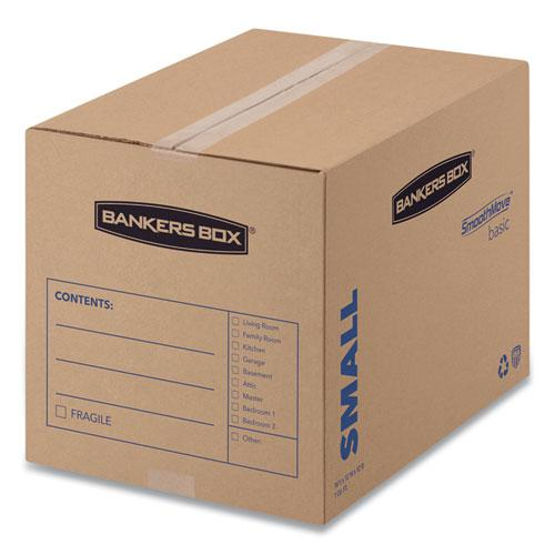 "SmoothMove Basic Moving Boxes, Small, Regular Slotted Container (RSC), 16"" x 12"" x 12"", Brown Kraft/Blue, 25/Bundle. Picture 1"
