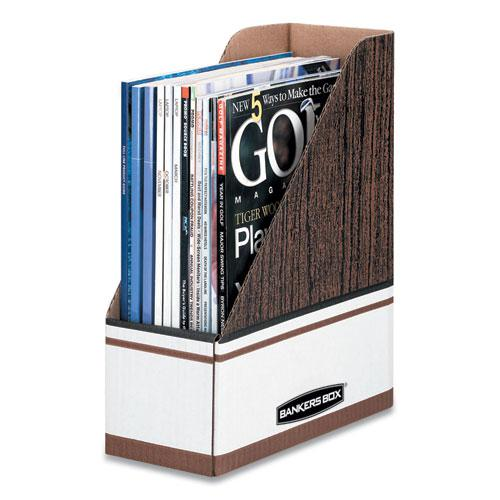 Corrugated Cardboard Magazine File, 4 x 11 x 12 3/4, Wood Grain, 12/Carton. The main picture.