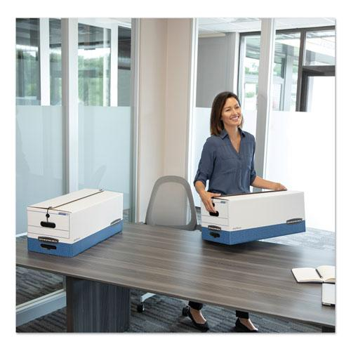 """STOR/FILE Medium-Duty Strength Storage Boxes, Legal Files, 15.25"""" x 19.75"""" x 10.75"""", White/Blue, 4/Carton. Picture 2"""
