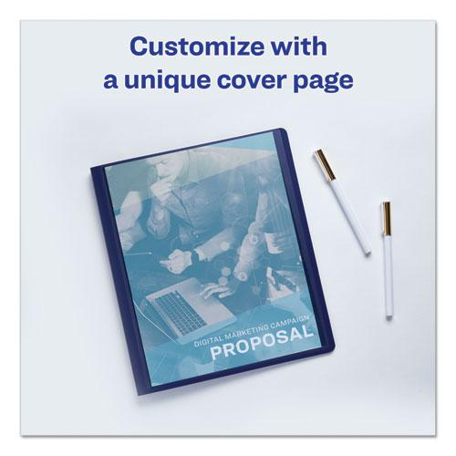 """Lay Flat View Report Cover w/Flexible Fastener, Letter, 1/2"""" Cap, Clear/Blue. Picture 3"""