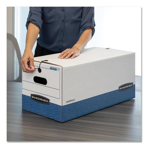 "STOR/FILE Medium-Duty Strength Storage Boxes, Legal Files, 15.25"" x 24.13"" x 10.75"", White/Blue, 12/Carton. Picture 2"