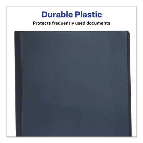 """Lay Flat View Report Cover with Flexible Fastener, Letter, 1/2"""" Cap, Clear/Gray. Picture 3"""