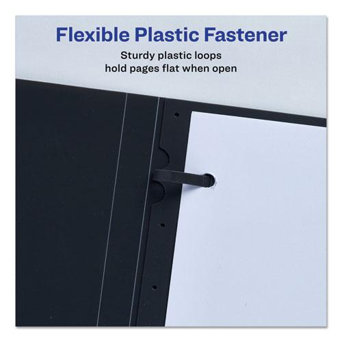 """Lay Flat View Report Cover with Flexible Fastener, Letter, 1/2"""" Cap, Clear/Gray. Picture 2"""
