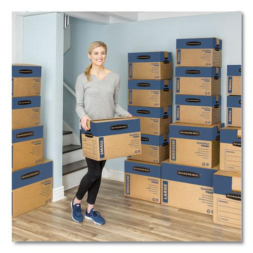 "SmoothMove Prime Moving/Storage Boxes, Small, Regular Slotted Container (RSC), 16"" x 12"" x 12"", Brown Kraft/Blue, 10/Carton. Picture 4"
