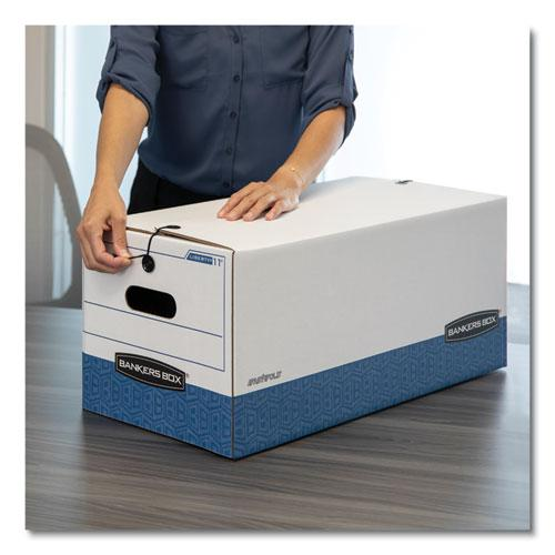 """STOR/FILE Medium-Duty Strength Storage Boxes, Legal Files, 15.25"""" x 19.75"""" x 10.75"""", White/Blue, 4/Carton. Picture 4"""