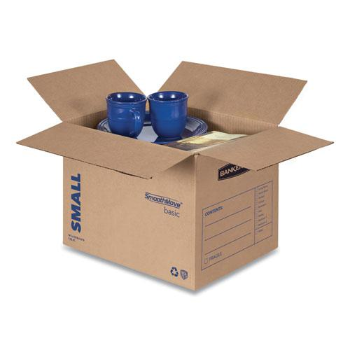 "SmoothMove Basic Moving Boxes, Small, Regular Slotted Container (RSC), 16"" x 12"" x 12"", Brown Kraft/Blue, 25/Bundle. Picture 2"