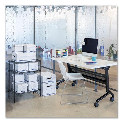 "Organizer Storage Boxes, Small, 6.25"" x 8.13"" x 6.5"", White/Blue, 12/Carton. Picture 2"