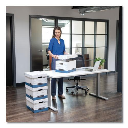 "STOR/FILE Medium-Duty Storage Boxes, Legal Files, 15.88"" x 25.38"" x 10.25"", White/Blue, 4/Carton. Picture 2"