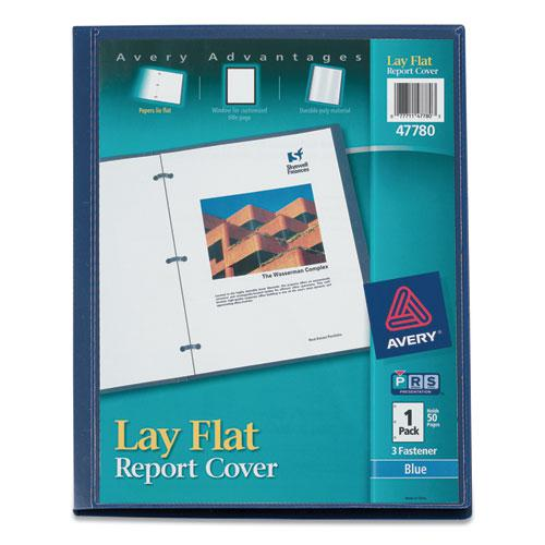 """Lay Flat View Report Cover w/Flexible Fastener, Letter, 1/2"""" Cap, Clear/Blue. Picture 1"""