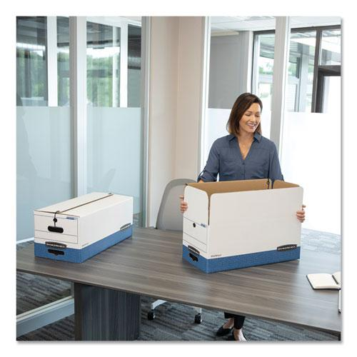 """STOR/FILE Medium-Duty Strength Storage Boxes, Legal Files, 15.25"""" x 19.75"""" x 10.75"""", White/Blue, 4/Carton. Picture 3"""