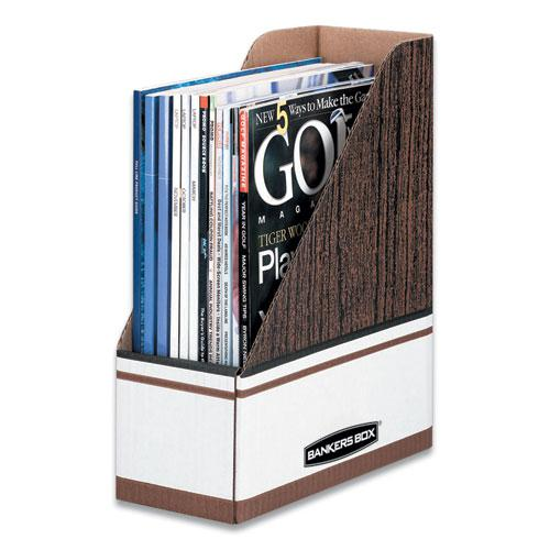 Corrugated Cardboard Magazine File, 4 x 9 x 11 1/2, Wood Grain, 12/Carton. Picture 1