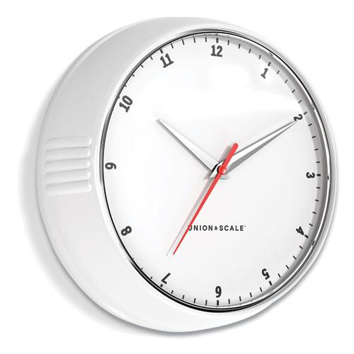 """Essentials Mid-Century Round Wall Clock, 9.5"""" Overall Diameter, White Case, 1 AA (Sold Separately). Picture 1"""