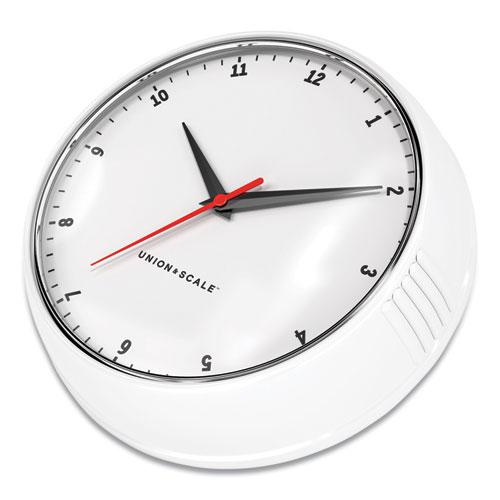 """Essentials Mid-Century Round Wall Clock, 9.5"""" Overall Diameter, White Case, 1 AA (Sold Separately). Picture 2"""