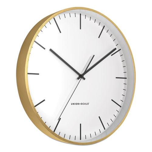 """MidMod Round Wall Clock, 12"""" Overall Diameter, Gold Case, 1 AA (Sold Separately). Picture 2"""