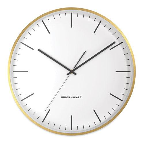 """MidMod Round Wall Clock, 12"""" Overall Diameter, Gold Case, 1 AA (Sold Separately). Picture 1"""
