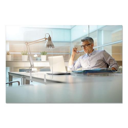 Protector Series Frameless Glass Desktop Divider, 55.1 x 0.16 x 35.4, Clear/Aluminum. Picture 3