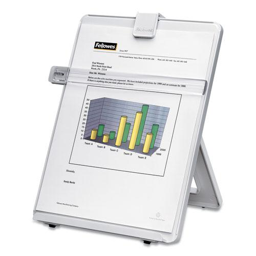 Non-Magnetic Desktop Copyholder, Plastic, 125 Sheet Capacity, Platinum. Picture 2