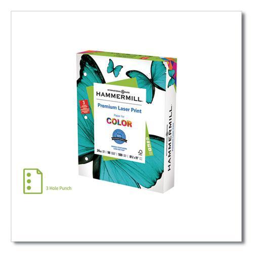 Premium Laser Print Paper, 98 Bright, 3-Hole, 24lb, 8.5 x 11, White, 500/Ream. Picture 1