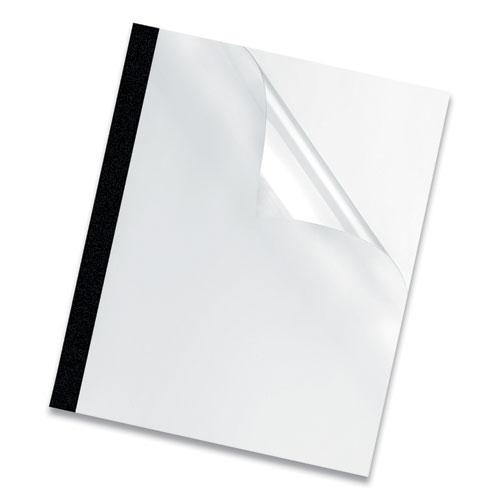 Thermal Binding System Covers, 180-Sheet Cap, 11 x 8.5, Clear/Black, 10/Pack. Picture 3
