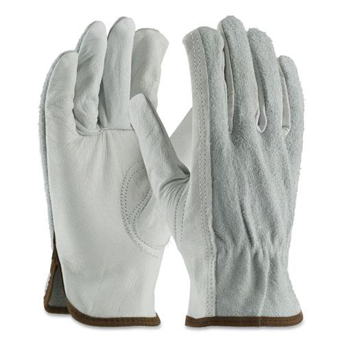 Top-Grain Leather Drivers Gloves with Shoulder-Split Cowhide Leather Back, Large, Gray. Picture 1